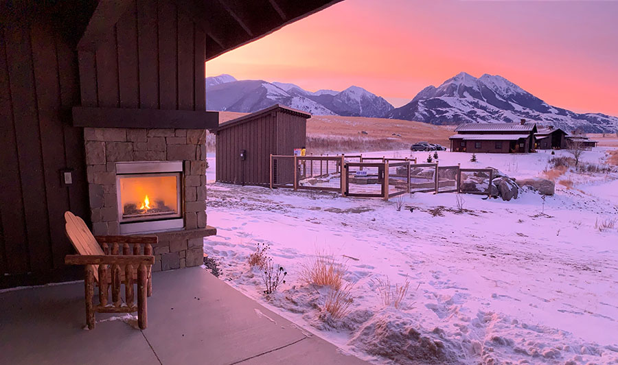 sunrise in winter and outdoor fireplace