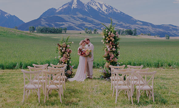Sage Lodge wedding in field