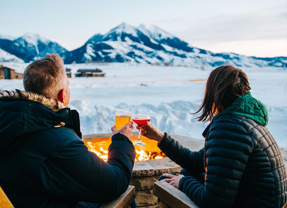 Winter Firepit Couple