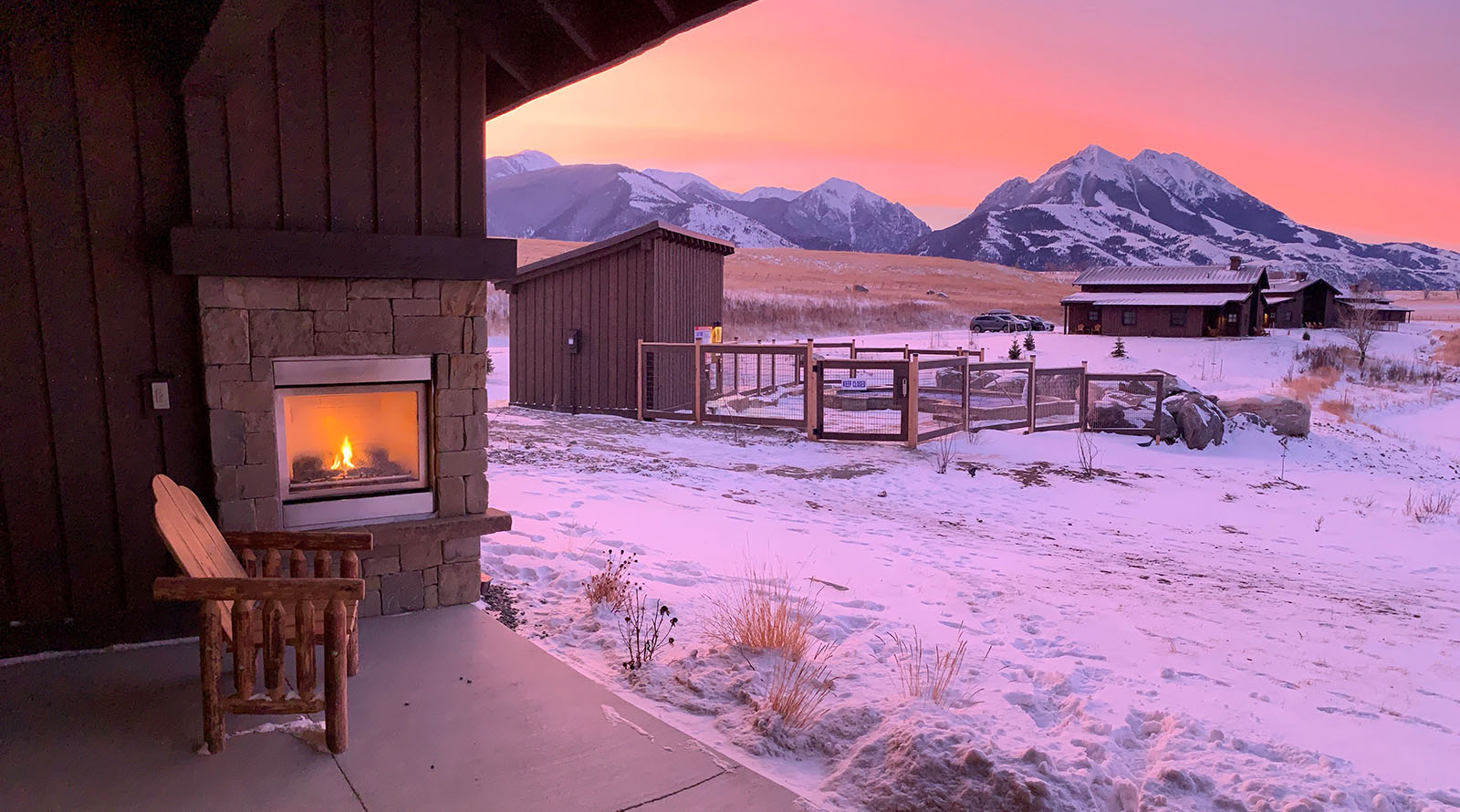 sunrise and outdoor fireplace