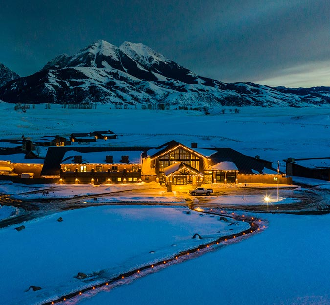 Sage Lodge at Night in the Winter