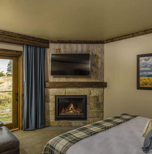 guestroom with fireplace