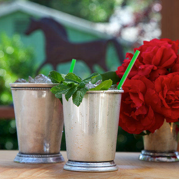 drinks on flowered table