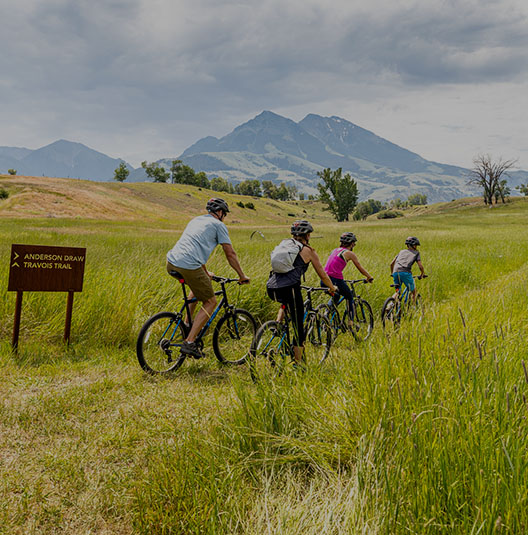 family biking and Emigrant Peak
