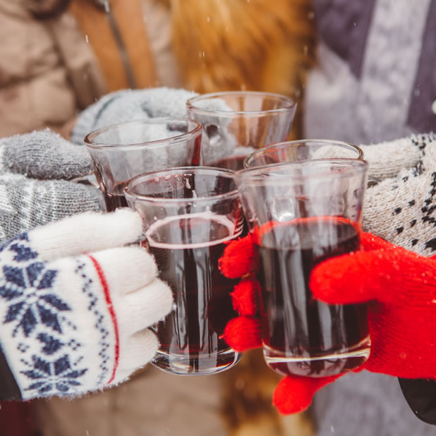 wine toast in the snow