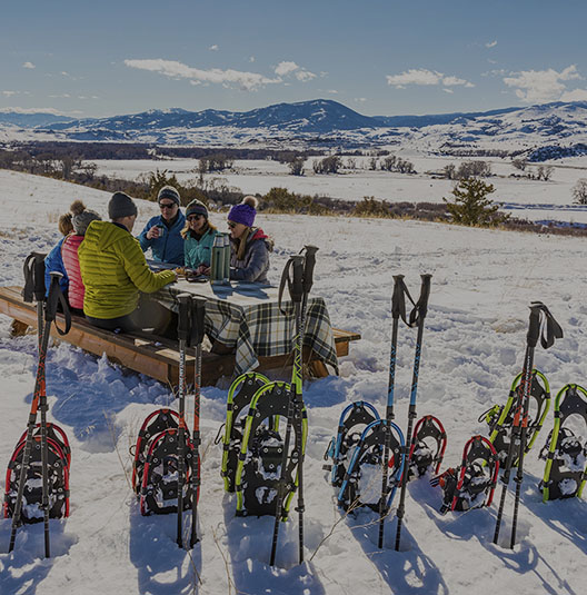picnic and snowshoeing